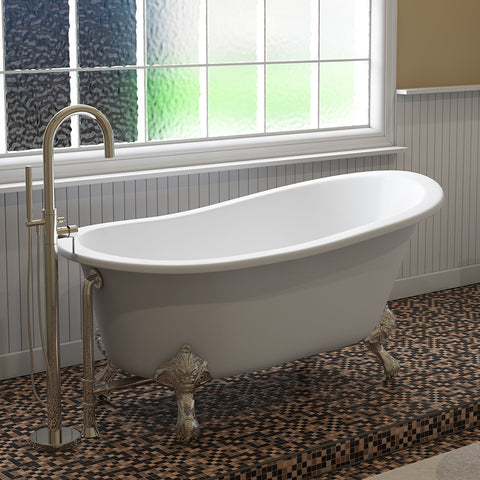"Image of Cambridge Plumbing Slipper Clawfoot Tub - 61"" X 30"" Cast Iron - Complete Polished Chrome Modern Freestanding Tub Filler with Hand Held Shower Assembly Plumbing Package - ST61-150-PKG-CP-NH-Bath Parlor"
