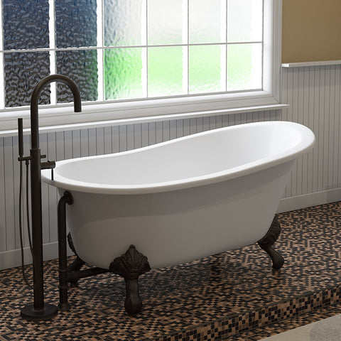 "Image of Cambridge Plumbing Slipper Clawfoot Tub - 61"" X 30"" Cast Iron - Complete Oil Rubbed Bronze Modern Freestanding Tub Filler with Hand Held Shower Assembly Plumbing Package - ST61-150-PKG-ORB-NH-Bath Parlor"