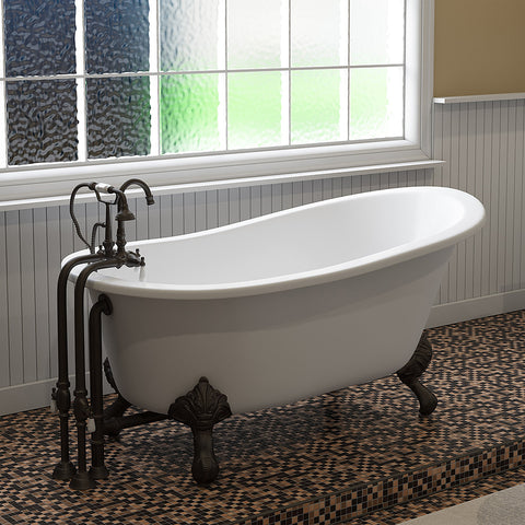 "Cambridge Plumbing Slipper Clawfoot Tub - 61"" X 30"" Cast Iron - Complete Oil Rubbed Bronze Free-Standing English Telephone Style Faucet with Hand Held Shower Assembly Plumbing Package - ST61-398684-PKG-ORB-NH-Bath Parlor"