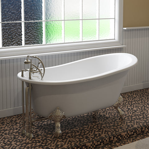 "Image of Cambridge Plumbing Slipper Clawfoot Tub - 61"" X 30"" Cast IronComplete Polished Chrome Plumbing Package - ST61-463D-2-PKG-CP-7DH-Bath Parlor"