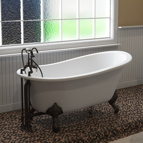 "Image of Cambridge Plumbing Slipper Clawfoot Tub - 61"" X 30"" Cast Iron - English Telephone Style Faucet Complete Oil Rubbed Bronze Plumbing Package - ST61-684D-PKG-ORB-7DH-Bath Parlor"