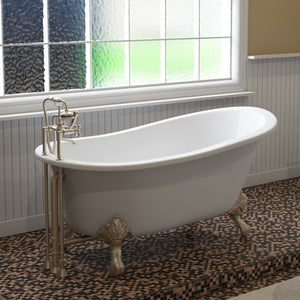 "Cambridge Plumbing Slipper Clawfoot Tub - 61"" X 30"" Cast IronBrushed Nickel Feet - ST61-DH-BN-Bath Parlor"