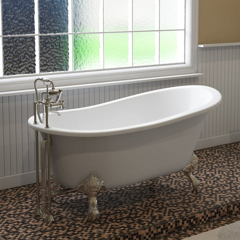 "Image of Cambridge Plumbing Slipper Clawfoot Tub - 61"" X 30"" Cast IronPolished Chrome Feet - ST61-DH-CP-Bath Parlor"