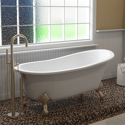 "Image of Cambridge Plumbing Slipper Clawfoot Tub - 67"" X 30"" Cast Iron - Complete Brushed Nickel Modern Freestanding Tub Filler with Hand Held Shower Assembly Plumbing Package -ST67-150-PKG-BN-NH-Bath Parlor"