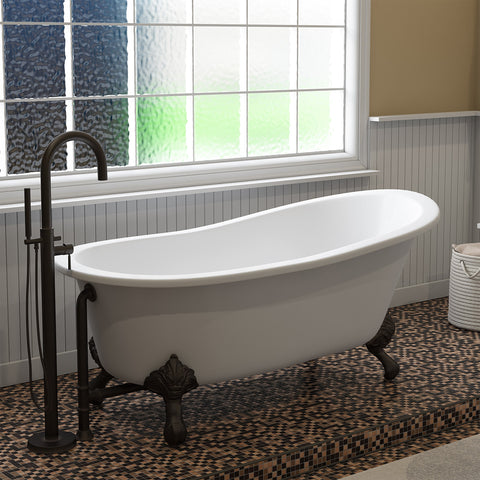 "Cambridge Plumbing Slipper Clawfoot Tub - 67"" X 30"" Cast Iron - Complete Oil Rubbed Bronze Modern Freestanding Tub Filler with Hand Held Shower Assembly Plumbing Package -ST67-150-PKG-ORB-NH-Bath Parlor"