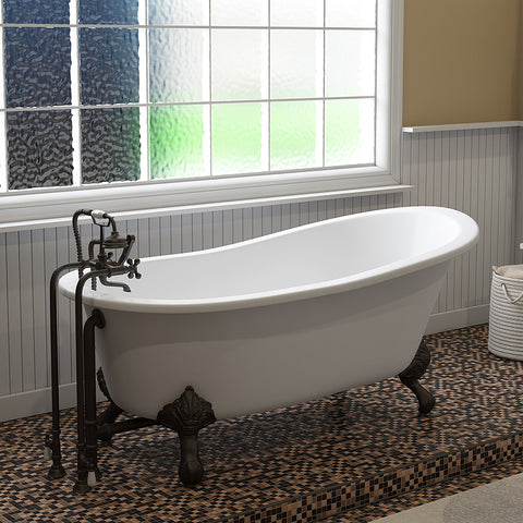 "Cambridge Plumbing Slipper Clawfoot Tub - 67"" X 30"" Cast Iron with No Faucet Drilling & Complete Free Standing British Telephone Faucet and Hand Held Shower Oil Rubbed Bronze Package - ST67-398463-PKG-ORB-NH-Bath Parlor"