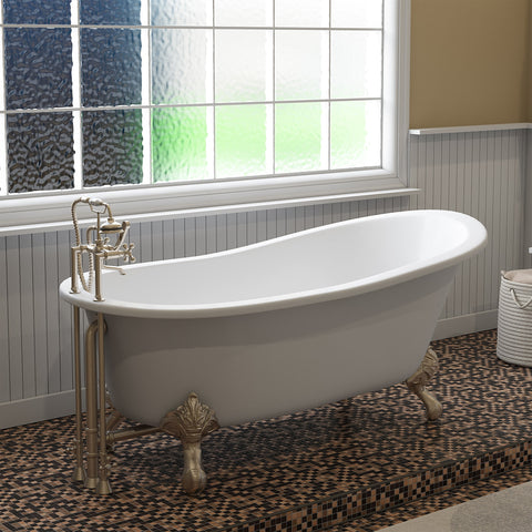 "Image of Cambridge Plumbing Slipper Clawfoot Tub - Cast Iron - British Telephone Style Faucet Complete Brushed Nickel Plumbing Package And Six Inch Deck Mount Risers - ST67-463D-6-PKG-BN-7DH (67""L x 30""W x 28""H)-Bath Parlor"
