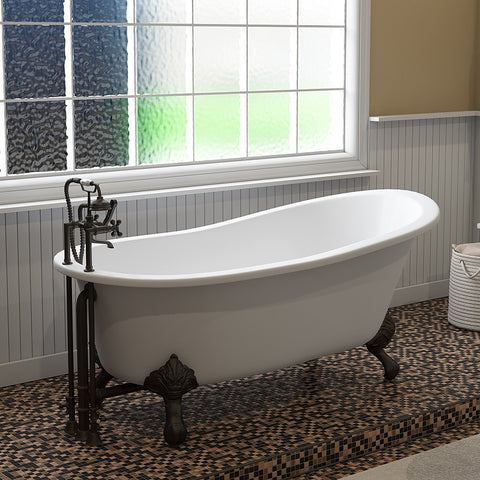 "Cambridge Plumbing Slipper Clawfoot Tub - Cast Iron - British Telephone Style Faucet Complete Oil Rubbed Bronze Plumbing Package And Six Inch Deck Mount Risers - ST67-463D-6-PKG-ORB-7DH (67""L x 30""W x 28""H)-Bath Parlor"