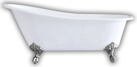 "Image of Cambridge Plumbing Slipper Clawfoot Tub - 67"" X 30"" Cast IronPolished Chrome Feet - ST67-DH-CP-Bath Parlor"