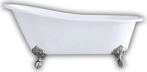 "Cambridge Plumbing Slipper Clawfoot Tub - 67"" X 30"" Cast IronPolished Chrome Feet - ST67-DH-CP-Bath Parlor"