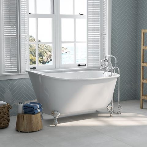 "Image of Cambridge Plumbing Swedish Slipper Clawfoot Tub - Cast Iron with No Faucet Drilling & Complete Plumbing Package - SWED58-398463-PKG-NH (58""L x 28""W x 26""H)-Bath Parlor"