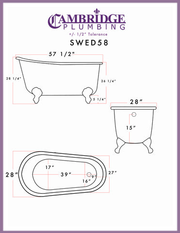 "Cambridge Plumbing Swedish Slipper Clawfoot Tub - 58"" X 30"" Cast Iron with No Faucet Drilling & Complete Oil Rubbed Bronze Plumbing Package - SWED58-398463-PKG-ORB-NH-Bath Parlor"