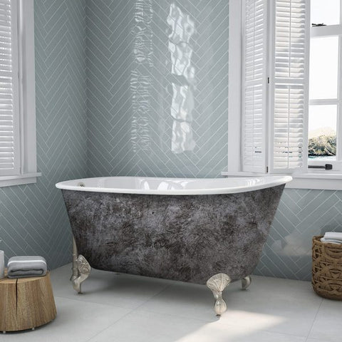 "Image of Cambridge Plumbing Swedish Slipper Scorched Platinum Clawfoot Tub - 54"" Swedish Clawfoot Tub With Brushed Nickel Feet - SWED54-NH-BN-SP-Bath Parlor"