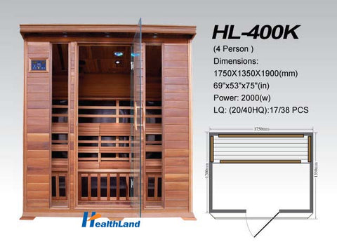 "Image of SunRay 4 Person Cedar Sequioa Infrared Sauna (HL400K) (75""H x 69""W x 53""D)-Bath Parlor"