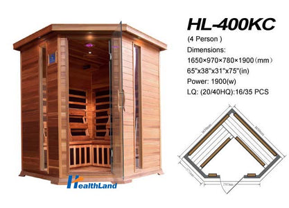 "SunRay 4 Person Cedar Bristol Bay Infrared Sauna (HL400KC) (75""H x 65""W x 65""D)-Bath Parlor"