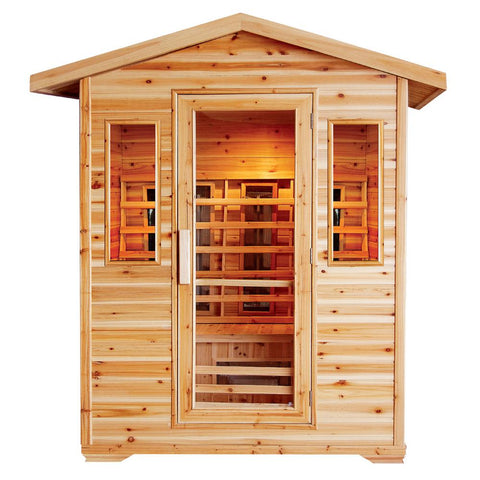 "SunRay 4 Person Outdoor Cayenne Infrared Sauna (HL400D) (83""H x 72""W x 52""D)-Bath Parlor"