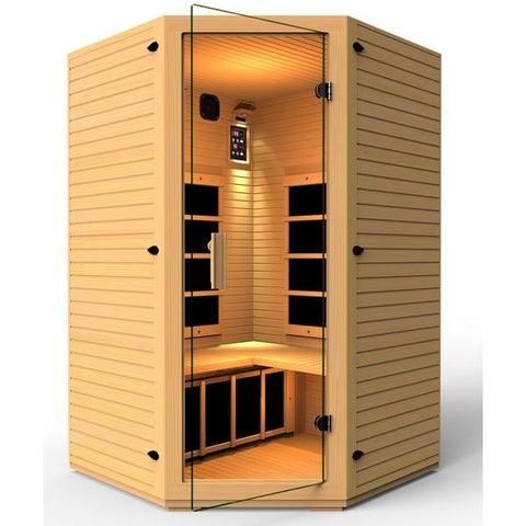 Image of JNH Lifestyles Vivo 2 Person Corner Far Infrared Sauna - Bath Parlor
