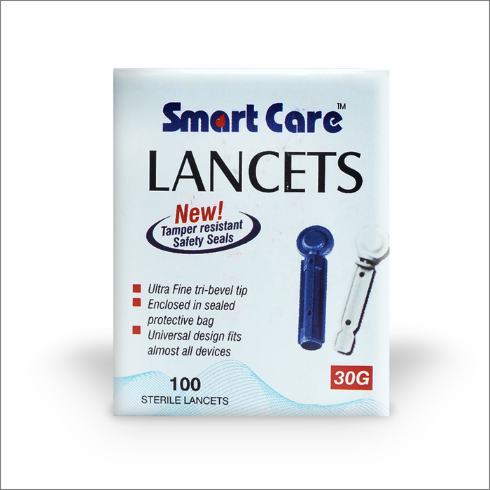 Smart Care Blood Lancet Needles Round 100 Count (Pack of 5) with Smart Care Blood Glucose Monitor Free