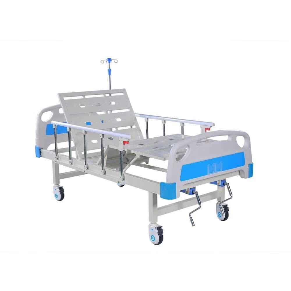 Smart Care Manual Full Fowler Bed with ABS Panel, Side Railing & IV Stand (Wooden Box Packing)