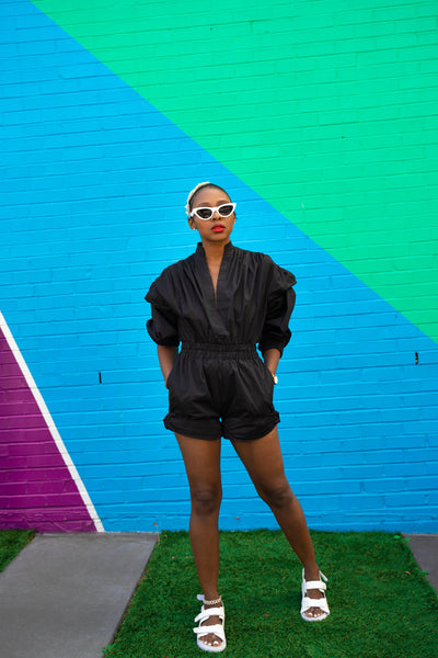 BLACK SHORT ROMPER-SAMPLE SALE ITEM