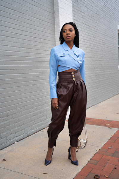 Vegan Leather Harem pants (burgundy)