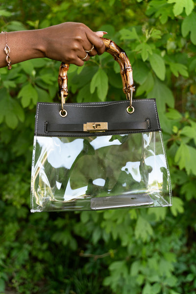 bamboo handle clear purse