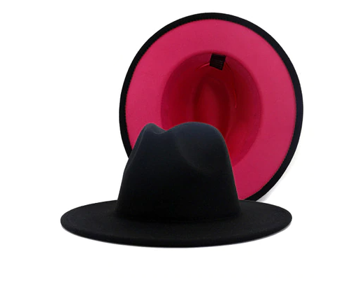 Black and pink fedora