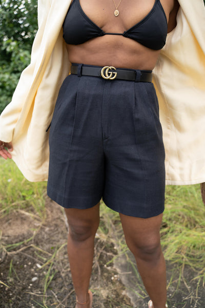 navy mom shorts