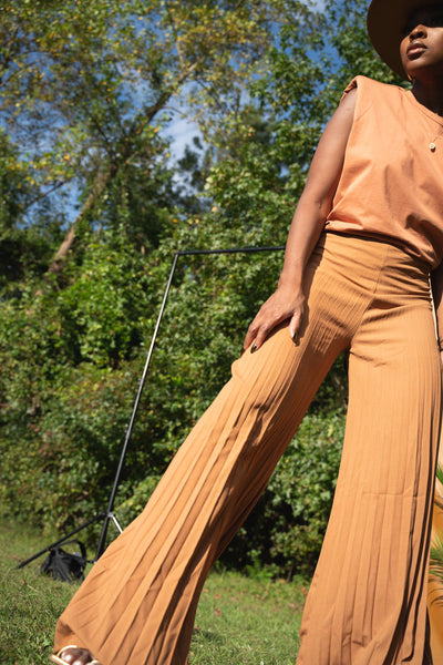 Camel Pleated Pants
