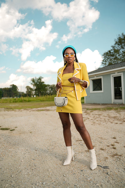 Yellow Chanel inspired skirt suit