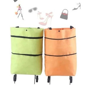 BagCart™ 2 In 1 Portable Foldable Shopping Cart Multifunction Telescopic Storage Bag with Wheel