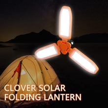Load image into Gallery viewer, PortaLamp™  Solar Powered Collapsible Clover Camping Lantern USB Charging and Solar Panel LED Lamp