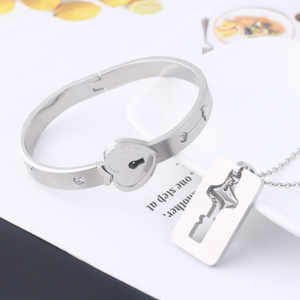 Forever™ Set Love Heart Lock Key Couple Necklaces Bracelet Stainless Steel Jewelry