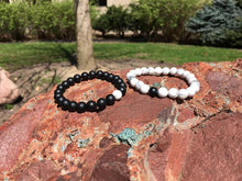 Load image into Gallery viewer, NoDistance™ A Couples Bond Black Lava Stone White Howlite Bracelets