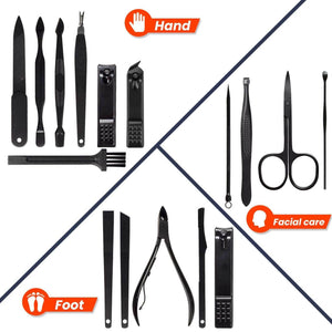 WowClippers™ 16PCS Stainless Steel Nail Clippers Kit Set Eagle Hook Sickle Nail Scissors Pedicure Manicure