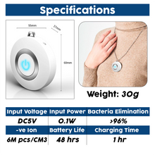 Load image into Gallery viewer, Freshlace™ Ionic Air Purifier Necklace Mini Portable USB Air Cleaner Negative Ion Generator