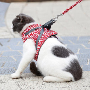 MeowVest™ Cat Vest Harness and Leash Set to Outdoor Walking Floral Pattern