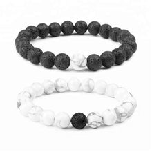 Load image into Gallery viewer, A Couples Bond Black Lava Stone White Howlite Bracelets bracelet The Oil Diffusery
