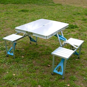 Foltable™  Portable Folding Picnic Table Camping Party Outdoor Garden Chair Stools Set