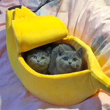 Load image into Gallery viewer, BananaBed™  Banana Soft Pet Bed  Warm Cozy House Small Cat Nest Puppy Mat
