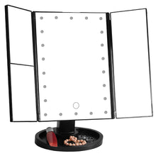 Load image into Gallery viewer, VanityMirror™ Folding Make-up Mirror with LED Lights Magnifying Lighted Up Cosmetic Mirror