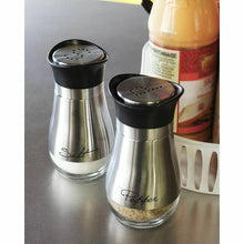 Load image into Gallery viewer, ClassyShaker™ Stainless Steel Salt Pepper Shakers Elegant BPA Free Glass Set Stand 4oz