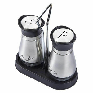 ClassyShaker™ Stainless Steel Salt Pepper Shakers Elegant BPA Free Glass Set Stand 4oz