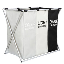 Load image into Gallery viewer, TriBag™ Foldable Laundry Hamper Basket Organizer 3 Sections Clothes Storage Bag
