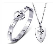 Load image into Gallery viewer, Forever™ Set Love Heart Lock Key Couple Necklaces Bracelet Stainless Steel Jewelry