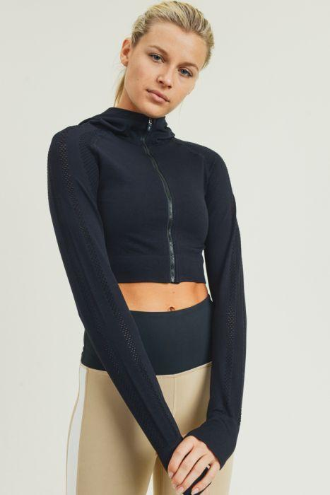 Perforated Crop Hoodie Jacket