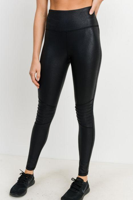 Ribbed Knee Foil Leggings