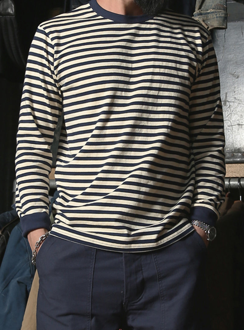 Heavy Cotton Motorcycle Striped Long-Sleeve T-shirt
