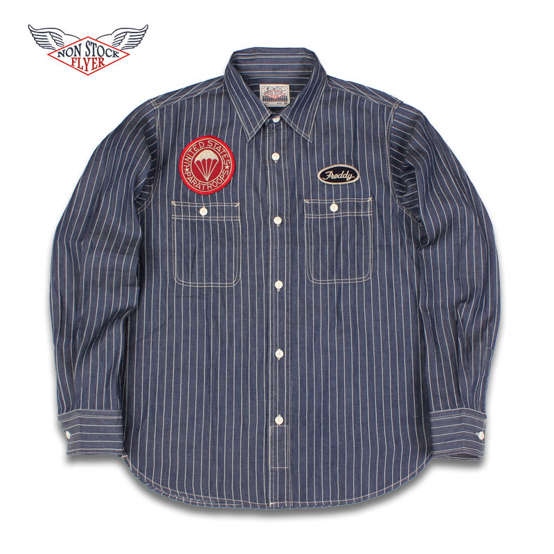 Non Stock Men's Slim Stripes Military Stickers Long Sleeve Shirts