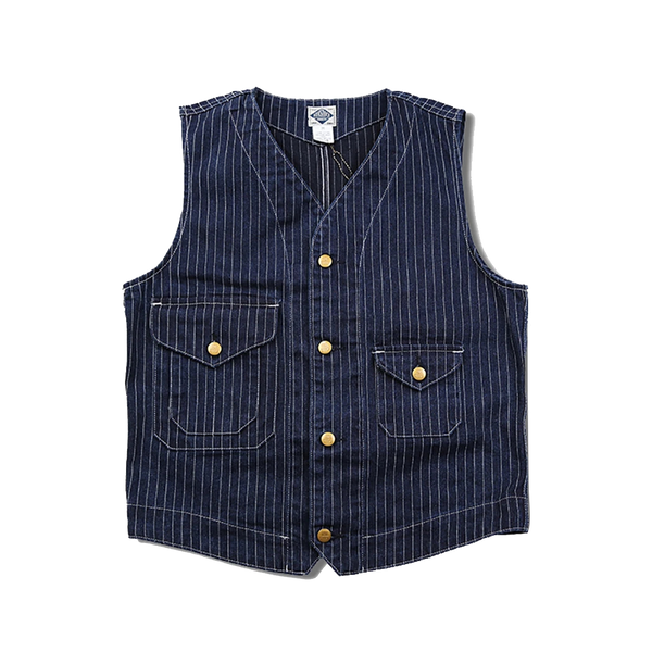 Retro Deep Blue Stripe Engineer Denim Vest